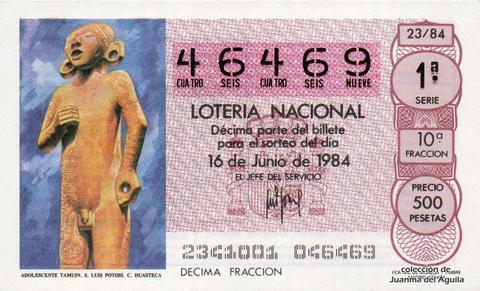 Décimo de Lotería 1984 / 23