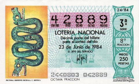 Décimo de Lotería 1984 / 24