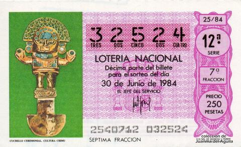 Décimo de Lotería 1984 / 25