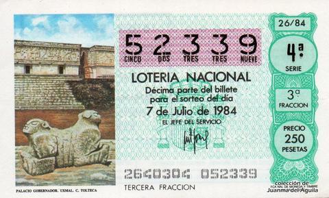 Décimo de Lotería 1984 / 26