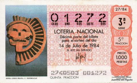 Décimo de Lotería 1984 / 27