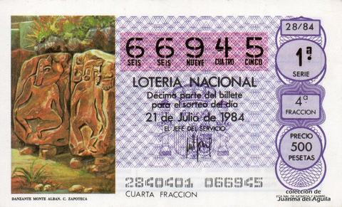 Décimo de Lotería 1984 / 28