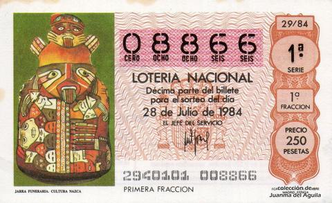 Décimo de Lotería 1984 / 29