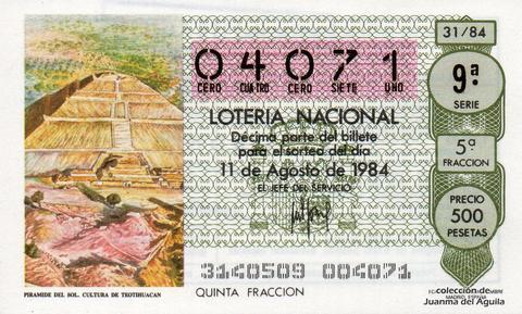 Décimo de Lotería 1984 / 31