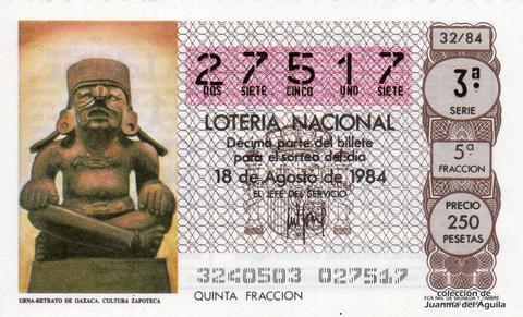 Décimo de Lotería 1984 / 32