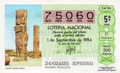 Décimo de Lotería 1984 / 34
