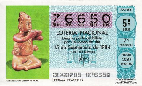 Décimo de Lotería 1984 / 36