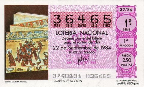 Décimo de Lotería 1984 / 37