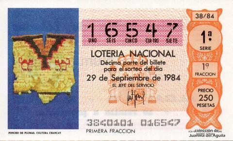 Décimo de Lotería 1984 / 38