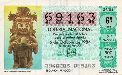 Décimo de Lotería 1984 / 39