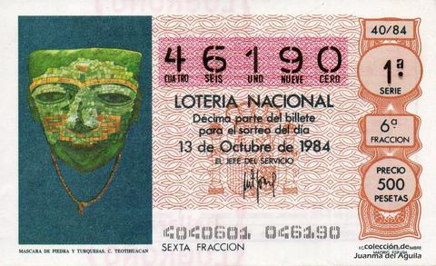 Décimo de Lotería 1984 / 40