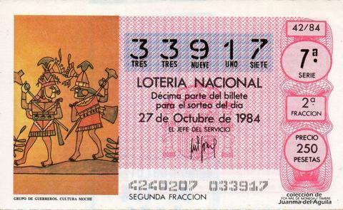 Décimo de Lotería 1984 / 42