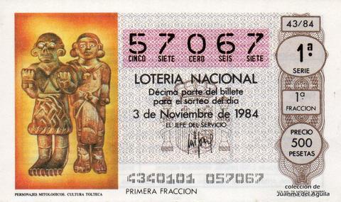 Décimo de Lotería 1984 / 43