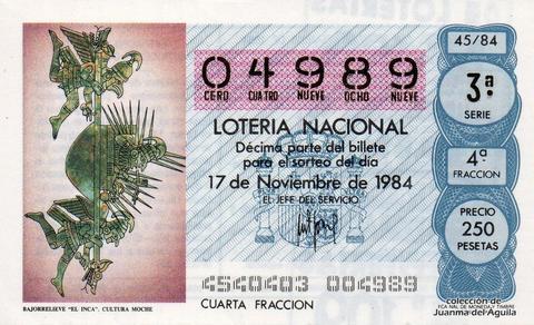 Décimo de Lotería 1984 / 45