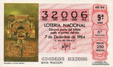 Décimo de Lotería 1984 / 48