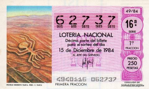 Décimo de Lotería 1984 / 49