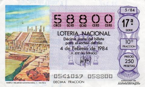 Décimo de Lotería 1984 / 5