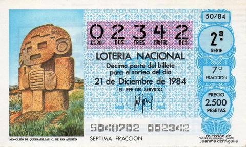 Décimo de Lotería 1984 / 50