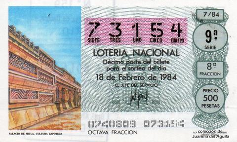 Décimo de Lotería 1984 / 7