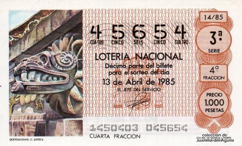 Décimo de Lotería Nacional de 1985 Sorteo 14 - QUETZALCOATL. CULTURA AZTECA