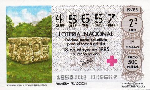 Décimo de Lotería Nacional de 1985 Sorteo 19 - ALTAR DE LA ESTELA D. COPAN (HONDURAS). CULTURA MAYA