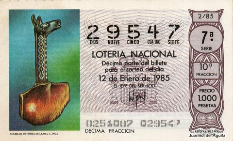 Décimo de Lotería Nacional de 1985 Sorteo 2 - CUCHILLO EN FORMA DE LLAMA. CULTURA INCA