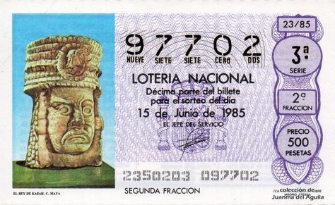 Décimo de Lotería Nacional de 1985 Sorteo 23 - EL REY DE KABAH. CULTURA MAYA