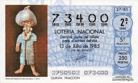 Décimo de Lotería Nacional de 1985 Sorteo 27 - FIGURA DE TERRACOTA (ISLA DE JAINA). CULTURA MAYA