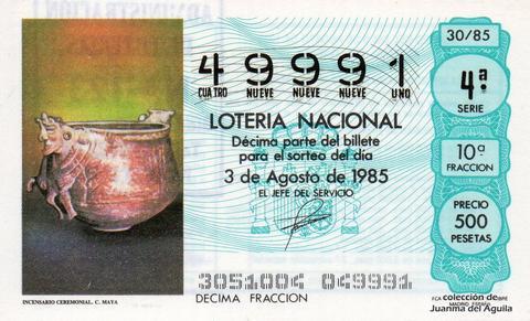 Décimo de Lotería Nacional de 1985 Sorteo 30 - INCENSARIO CEREMONIAL CULTURA MAYA
