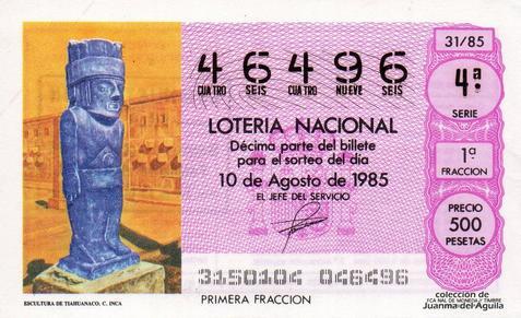 Décimo de Lotería Nacional de 1985 Sorteo 31 - ESCULTURA DE TIAHUANAO. CULTURA INCA