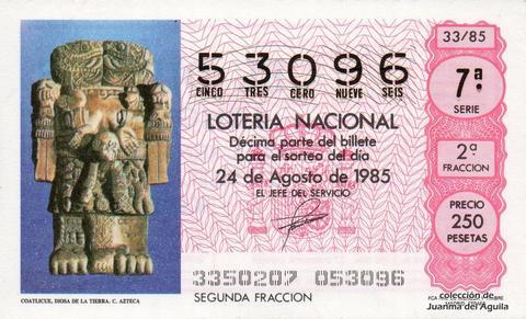 Décimo de Lotería Nacional de 1985 Sorteo 33 - COATLICUE, DIOSA DE LA TIERRA. CULTURA AZTECA