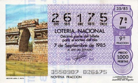 Décimo de Lotería Nacional de 1985 Sorteo 35 - ARCO DE LABNA. CULTURA MAYA