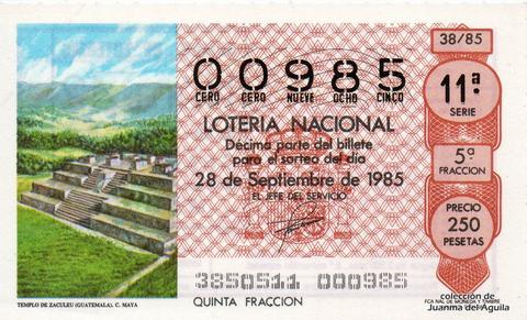 Décimo de Lotería Nacional de 1985 Sorteo 38 - TEMPLO DE ZACULEU (GUATEMALA). CULTURA MAYA