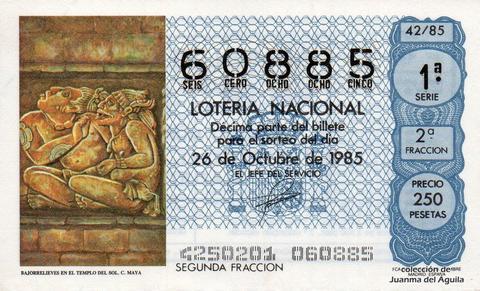 Décimo de Lotería Nacional de 1985 Sorteo 42 - BAJORRELIEVES EN EL TEMPLO DEL SOL. CULTURA MAYA