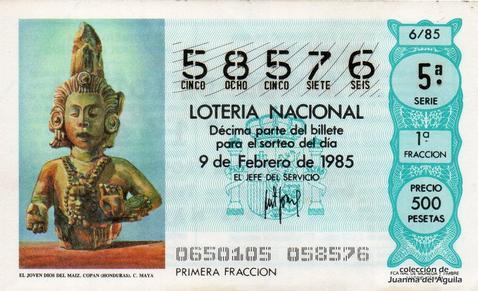 Décimo de Lotería Nacional de 1985 Sorteo 6 - EL JOVEN DIOS DEL MAIZ. COPAN (HONDURAS). CULTURA MAYA