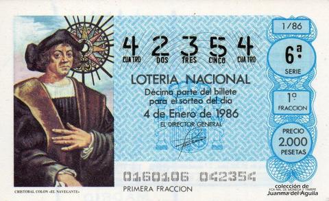Décimo de Lotería 1986 / 1