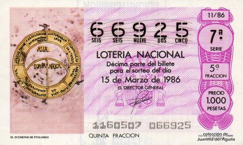 Décimo de Lotería 1986 / 11