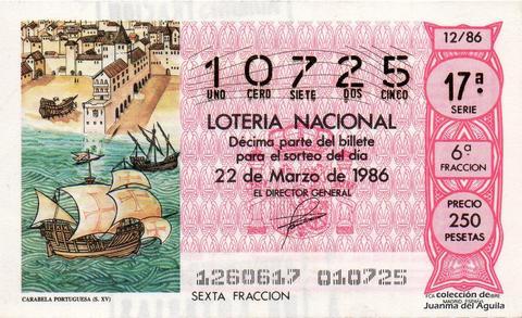Décimo de Lotería 1986 / 12