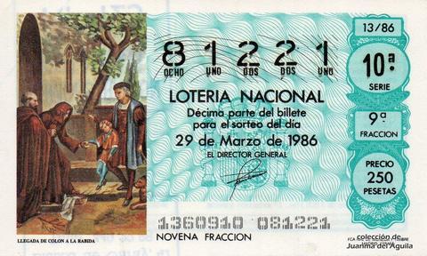 Décimo de Lotería 1986 / 13