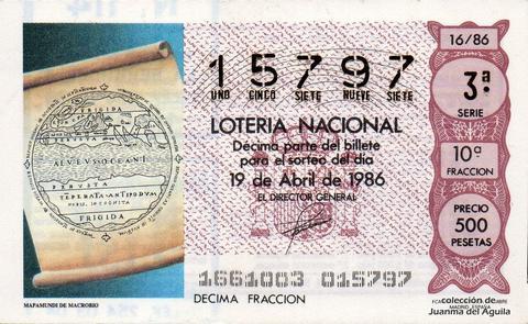 Décimo de Lotería 1986 / 16