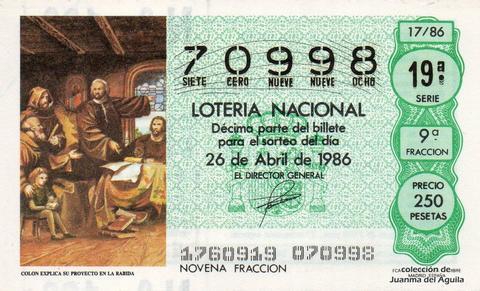 Décimo de Lotería 1986 / 17