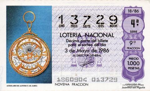 Décimo de Lotería 1986 / 18