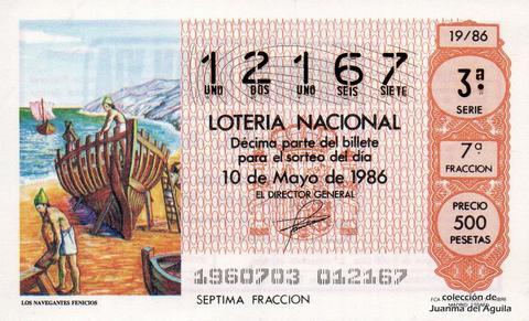 Décimo de Lotería 1986 / 19