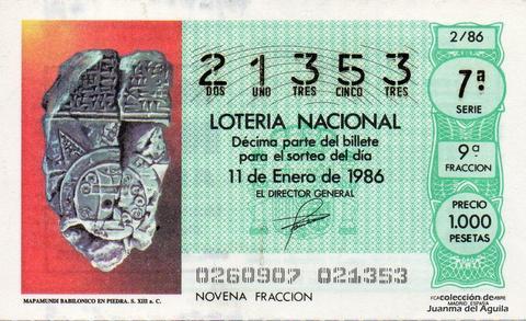 Décimo de Lotería 1986 / 2