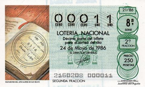 Décimo de Lotería 1986 / 21