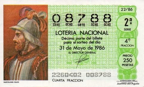 Décimo de Lotería 1986 / 22