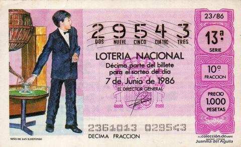 Décimo de Lotería 1986 / 23