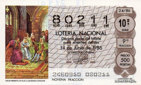 Décimo de Lotería 1986 / 24