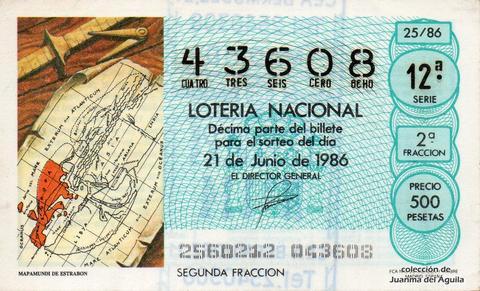 Décimo de Lotería 1986 / 25