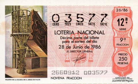 Décimo de Lotería 1986 / 26